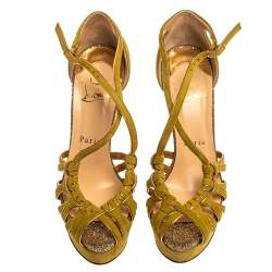 Christian Louboutin Green Suede 8 Mignons Platform Sandals Size 36