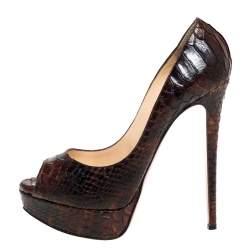 Christian Louboutin Brown Python Leather Lady Peep Platform Pumps Size 38