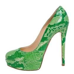 Christian Louboutin Green Python Leather Bianca Platform Pumps Size 38
