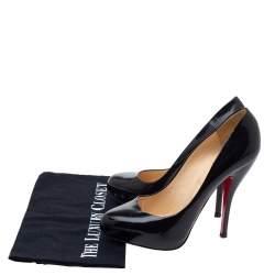 Christian Louboutin Black Patent Leather Rolando Platform Pumps Size 38.5