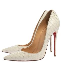 Christian Louboutin White Python So Kate Pumps Size 38