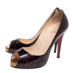 Christian Louboutin Dark Brown Tortoise Patent Leather Very Prive Peep Toe Pumps Size 40
