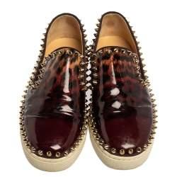 Christian Louboutin Leopard Print Patent Leather Pik Boat Studded Slip On Loafers Size 37