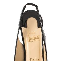 Christian Louboutin Black Patent Leather Private Number Peep Toe Slingback Sandals Size 37