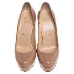 Christian Louboutin Beige Patent Leather Bianca Platform Pumps Size 37.5
