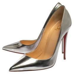 Christian Louboutin Silver Leather So Kate Pointed Toe Pumps Size 39