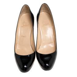 Christian Louboutin Black Patent Leather Simple Pumps Size 39.5