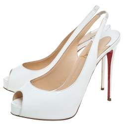 Christian Louboutin White Patent Leather Very Prive Slingback Sandals Size 37