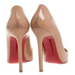 Christian Louboutin Beige Patent Leather So Kate Pointed Toe Pump Size 36