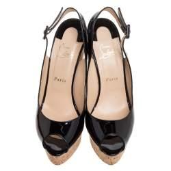 Christian Louboutin Black Patent Leather Une Plume Peep Toe Slingback Cork Wedges Size 41