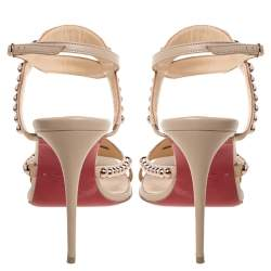 Christian Louboutin Beige Leather Bauble Studded Sandals Size 37.5