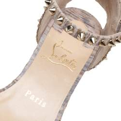 Christian Louboutin Beige Cork/Glitter Jute Spiked Espadrille Wedge Sandals Size 37