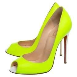Christian Louboutin Neon Yellow/white Leather Flo Peep Toe Pumps Size 36