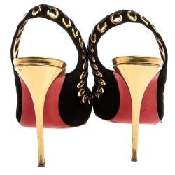 Christian Louboutin Black Suede And Leather Trim Ostri Slingback Sandals Size 37