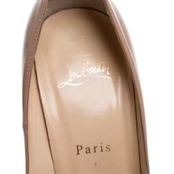 Christian Louboutin Beige Patent Leather Troca Platform Pumps Size 38.5
