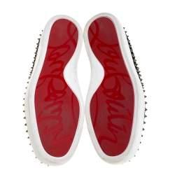 Christian Louboutin Black Shimmering Python Effect Velvet Pik Boat Slip On Sneakers Size 45
