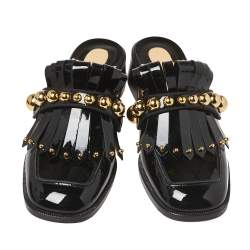 Christian Louboutin Black Patent Leather Octavian Mules Sandals Size 37