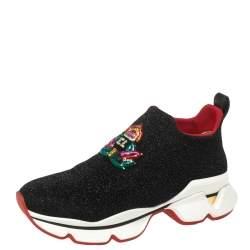 Christian Louboutin Black Lurex Stretch Fabric Crestirun Donna  Sneakers Size 37