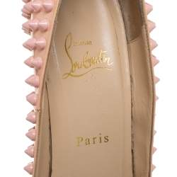Christian Louboutin Pink Patent Leather Pigalle Spikes Pointed Toe Pumps Size 39