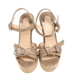 Christian Louboutin Beige Leather Zero Problem Espadrille Wedge Sandals Size 36