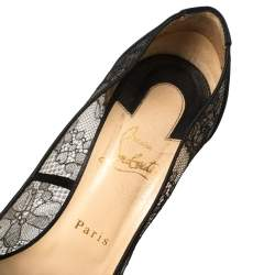 Christian Louboutin Black Lace And Satin Pigalace Pointed Toe Pumps Size 38.5