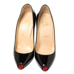 Christian Louboutin Black Patent Leather Youyou Peep Toe Pumps Size 38.5