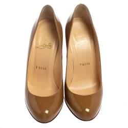 Christian Louboutin Beige Patent Leather Fifi Pumps Size 35.5