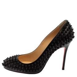 Christian Louboutin Black Leather Fifi Spikes Pumps Size37.5