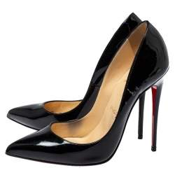 Christian Louboutin Black Patent Leather So Kate Pointed Toe Pumps Size 37