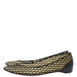 Christian Louboutin Black  Mesh And Leather Pigaresille Pointed-Toe Flats Size 37