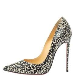 Christian Louboutin Black/White Snakeskin So Kate Pumps Size 38.5