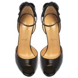 Christian Louboutin Black Leather Dos Noeud Bow Pumps Size 38.5