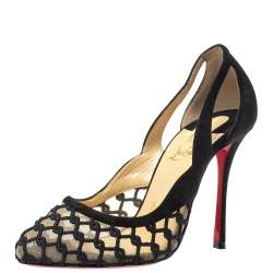 Christian Louboutin Black Mesh And Suede  K Racas Pumps Size 36