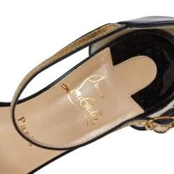 Christian Louboutin Black/Gold Patent Leather Valparaisa Sandals Size 37.5