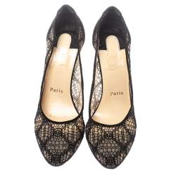 Christian Louboutin Black Lace and Suede Follies Pumps Size 37