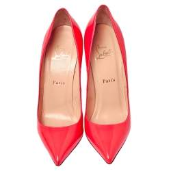 Christian Louboutin Neon Orange Patent Leather Pigalle Pumps Size 37.5