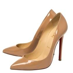 Christian Louboutin Beige Patent Leather Pigalle Pointed Toe Pumps Size 39