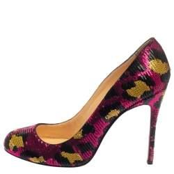 Christian Louboutin Multicolor Leopard Print Sequin Fifi  Pumps Size 40
