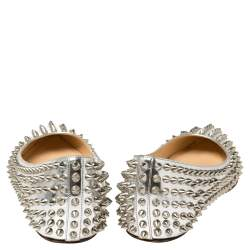 Christian Louboutin Silver Metallic Leather Pigalle Spikes Flats Size 39.5