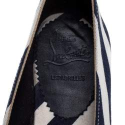 Christian Louboutin Blue/White Striped Canvas Galia Espadrille Flats Size 35