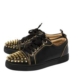 Christian Louboutin Black Leather Louis Junior Spikes Low Top Sneakers Size 35