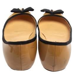 Christian Louboutin Beige Patent Leather Balinodono Bow Ballet Flats Size 38