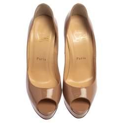 Christian Louboutin Beige Patent Leather Lady Peep Toe Platform Pumps Size 37