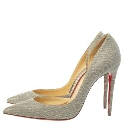 Christian Louboutin Multicolor Glitter Fabric Iriza D'orsay Pointed Toe Pumps Size 38