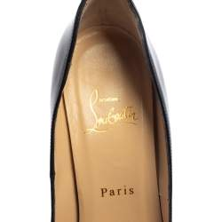 Christian Louboutin Black Patent Lady Peep Toe Platform Pumps Size 39.5