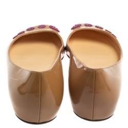 Christian Louboutin Beige Patent Leather Kawai Ballet Flats Size 38.5