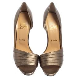 Christian Louboutin Metallic Gold Leather Armadillo Peep Toe D'orsay Pumps Size 38.5