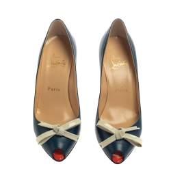 Christian Louboutin Blue Leather Tibunodo Bow Peep Toe Pumps Size 36
