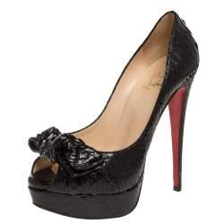 Christian Louboutin Black Python Madame Butterfly Peep Toe Pumps Size 39