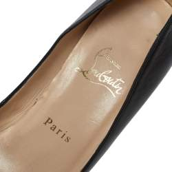 Christian Louboutin Black Leather Gabin Peep Toe Platform Pumps Size 38.5